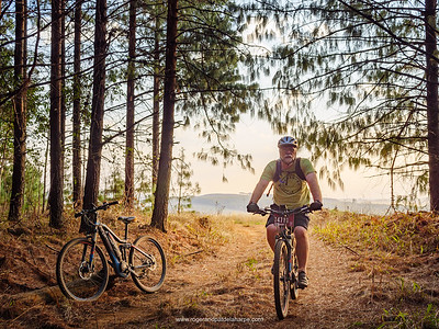 Ebiking in the Karkloof forests near Howick in KwaZulu Natal. South Africa.