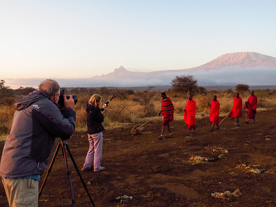 Photo Shoot with Maasai men in the Satao Elerai Conservancy, with Mt Kilimanjaro in the background. Kenya.