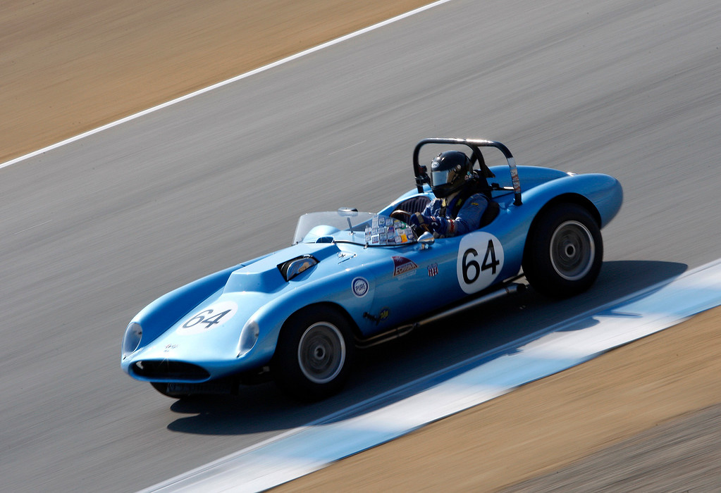 . Bob Hardison (64) in his 1958 Echidna Special in the Group 3A 1955-1961 Sports Racing over 2000cc class at Mazda Raceway Laguna Seca in Monterey during the Rolex Monterey Motorsports Reunion on Friday, Aug. 18, 2017.  (Vern Fisher - Monterey Herald)