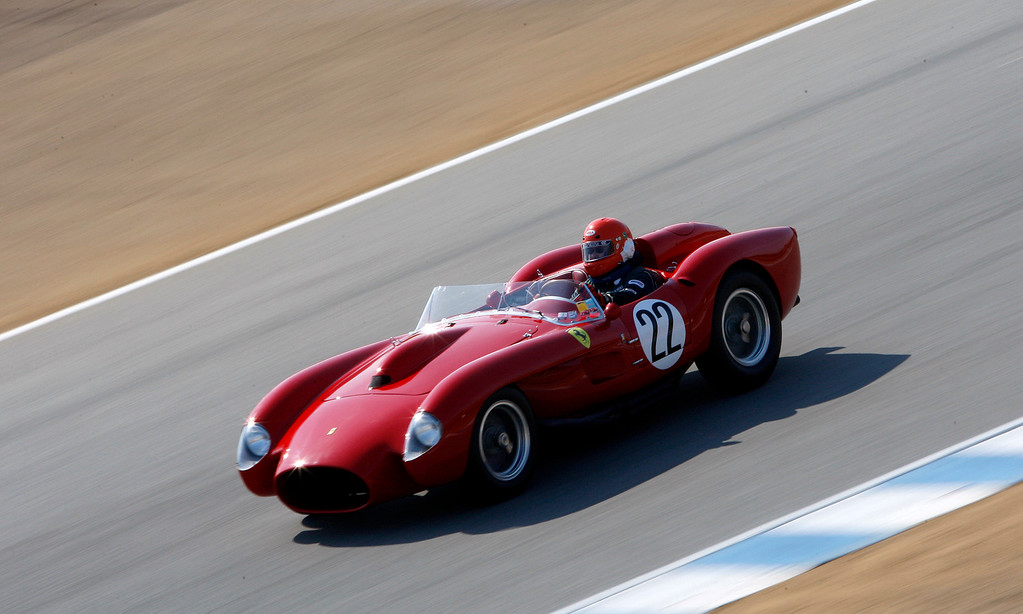 . Tony Wang (22) in his 1958 Ferrari 250 Testa Rosa in the Group 3A 1955-1961 Sports Racing over 2000cc class at Mazda Raceway Laguna Seca in Monterey during the Rolex Monterey Motorsports Reunion on Friday, Aug. 18, 2017.  (Vern Fisher - Monterey Herald)