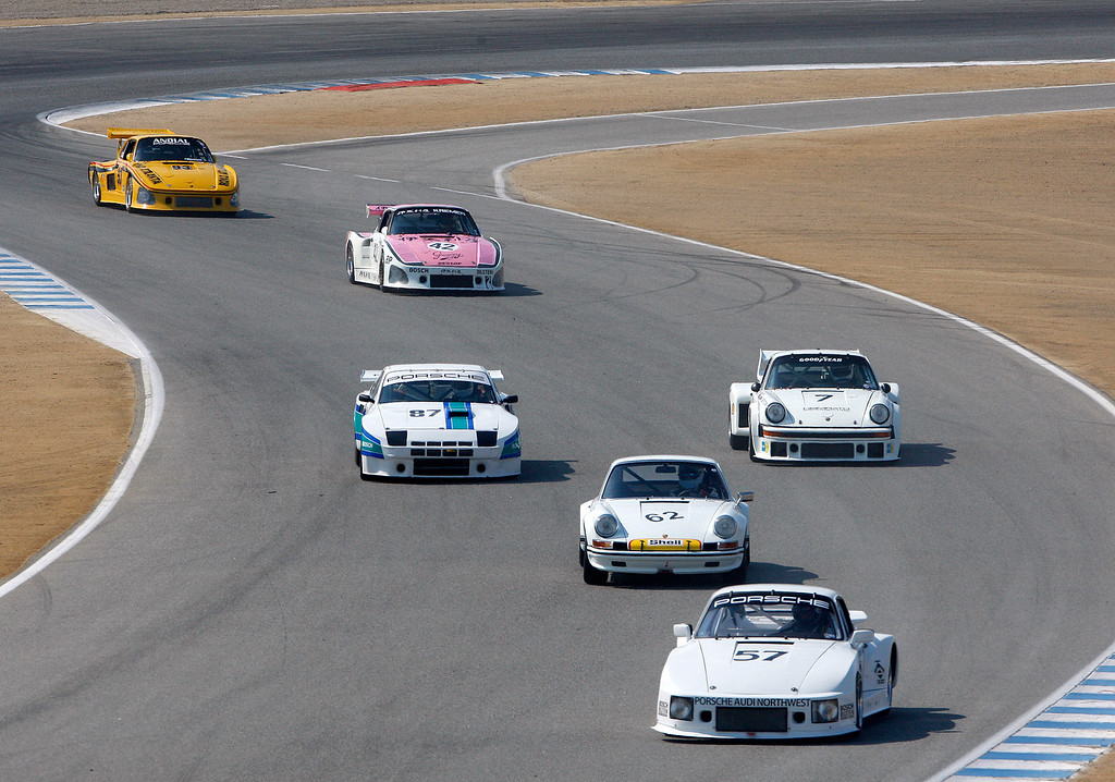 . Action during the Group 4A 1973-1981 FIA, IMSA, GT, GTX, AAGT class at Mazda Raceway Laguna Seca in Monterey during the Rolex Monterey Motorsports Reunion on Friday, Aug. 18, 2017.  (Vern Fisher - Monterey Herald)