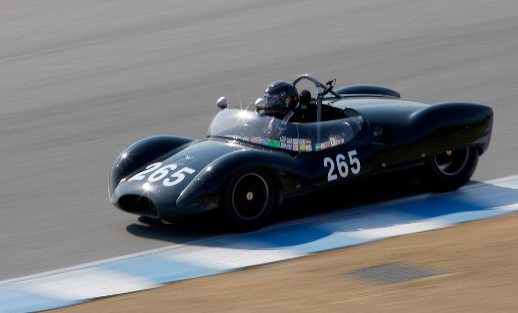 . Sandra McNeil (265) races her 1958 Copper Monaco T49 into turn-3 in the Group 3A 1955-1961 Sports Racing over 2000cc class at Mazda Raceway Laguna Seca in Monterey during the Rolex Monterey Motorsports Reunion on Friday, Aug. 18, 2017.  (Vern Fisher - Monterey Herald)