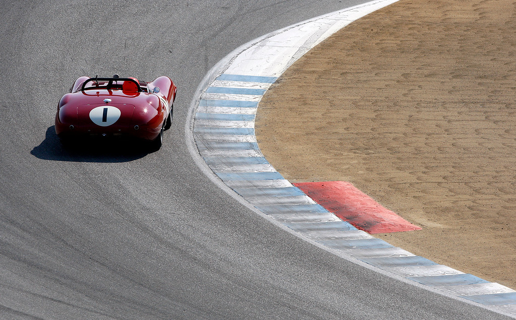 . Robert Kauffman (1) races around turn-3 in his 1959 Kister Costin Prototype in the Group 3A 1955-1961 Sports Racing over 2000cc class at Mazda Raceway Laguna Seca in Monterey during the Rolex Monterey Motorsports Reunion on Friday, Aug. 18, 2017.  (Vern Fisher - Monterey Herald)