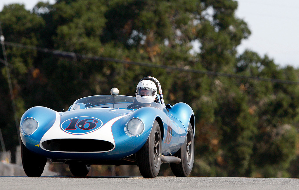 . David Swig (16) races his 1958 Scarab MkI down the straight in the Group 3A 1955-1961 Sports Racing over 2000cc class at Mazda Raceway Laguna Seca in Monterey during the Rolex Monterey Motorsports Reunion on Friday, Aug. 18, 2017.  (Vern Fisher - Monterey Herald)