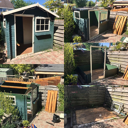 April 26, 2020: breaking down the old garden shed.