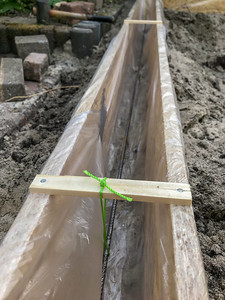 May 20, 2020: a little rebar in the timber formwork.
