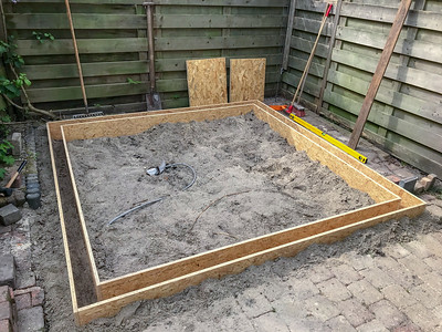 May 8, 2020: setting out the timber formwork for the shed.