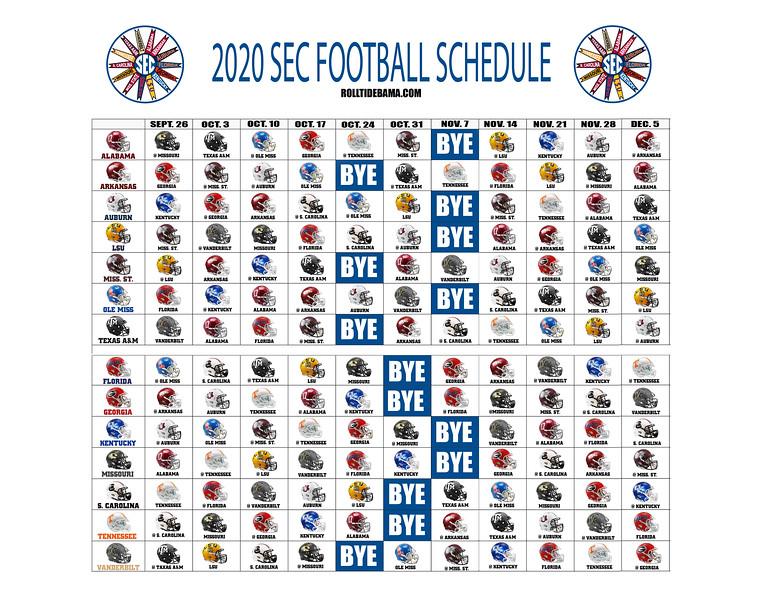 2020 SEC Football Helmet Schedule