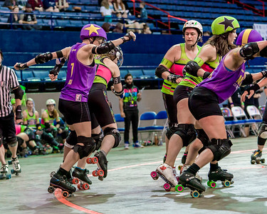 2018 WFTDA Championships New Orleans Game1 Crime City Montreal ©Keith Bielat