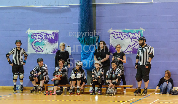 18 June 2018 at the Arc, Glasgow Caledonian University. Mean City Roller Derby v New Town Roller Girls