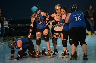 L-R: Nor Cal Roller Girl's Mellissa Barton aka Honey Beast, Riley Erikson aka Mother Russia, Carson City Roller's Jolie Urushibata-D'ascoli aka Deadamame, Nor Cal Roller Girl's Tabby Porter aka Shotgun Shortie, Jacque Lewaowicz aka Jac-Kill-N, Saturday, February 24, 2018, in Chico, California. (Carin Dorghalli -- Enterprise-Record)