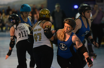 L-R: Carson City Roller's Amy Vidaurri aka Ginger Snap, Nor Cal Roller's Tabby Porter aka Shotgun Shortie, Saturday, February 24, 2018, in Chico, California. (Carin Dorghalli -- Enterprise-Record)
