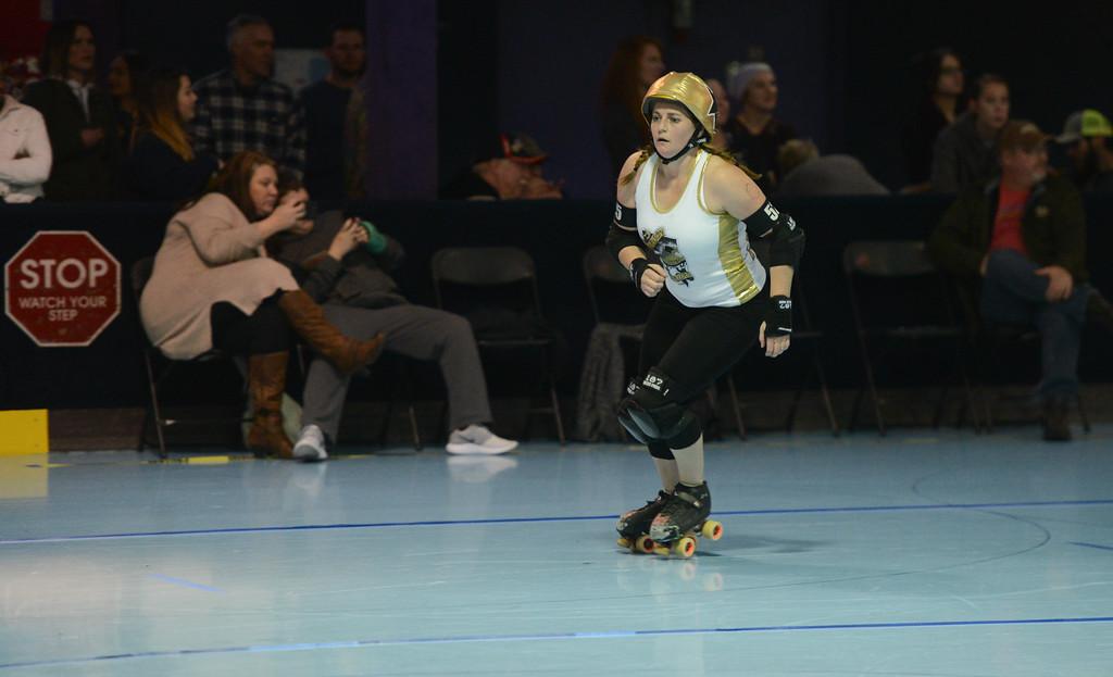 . Carson City Roller\'s Kristina Britt, Saturday, February 24, 2018, in Chico, California. (Carin Dorghalli -- Enterprise-Record)