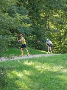 Doug and Bill heading toward the finish. A two hour ski...