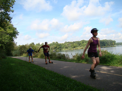Kate being chased down by Dan Yankus and Rob Freeman. Lost cause guys - she's faster than you!