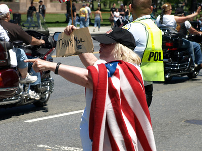 Rolling Thunder Motorcycle Rally, Washington, DC, May 25, 2008. A visitor shows her support for Rolling Thunder.