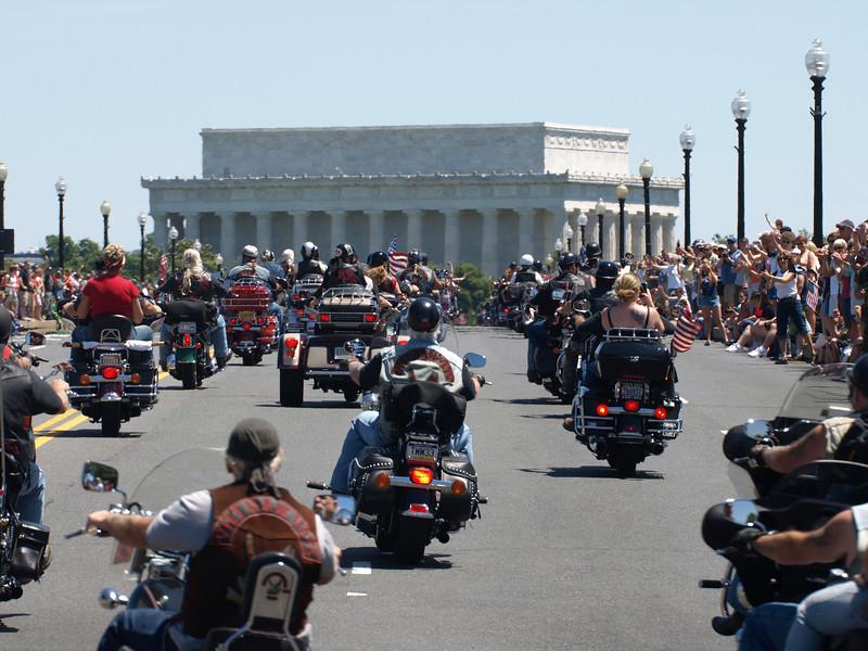 Rolling Thunder Motorcycle Rally, Washington, DC, May 25, 2008. Riders cross Memorial Bridge heading toward the Lincoln Memorial.
