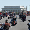 Rolling Thunder Motorcycle Rally, Washington, DC, May 25, 2008. Riders cross Memorial Bridge heading toward the Lincoln Memorial.
