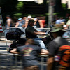 "Rolling Thunder Motorcycle Rally, Washington, DC, May 25, 2008. A rider speeds down ""Thunder Alley."""