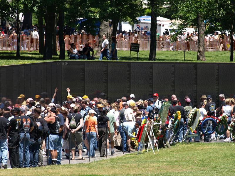 Rolling Thunder Motorcycle Rally, Washington, DC, May 25, 2008. Visitors crowd into the Vietnam War Memorial.