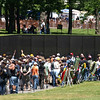 Rolling Thunder Motorcycle Rally, Washington, DC, May 25, 2008. Visitors crowd into the Vietnam War Memorial.