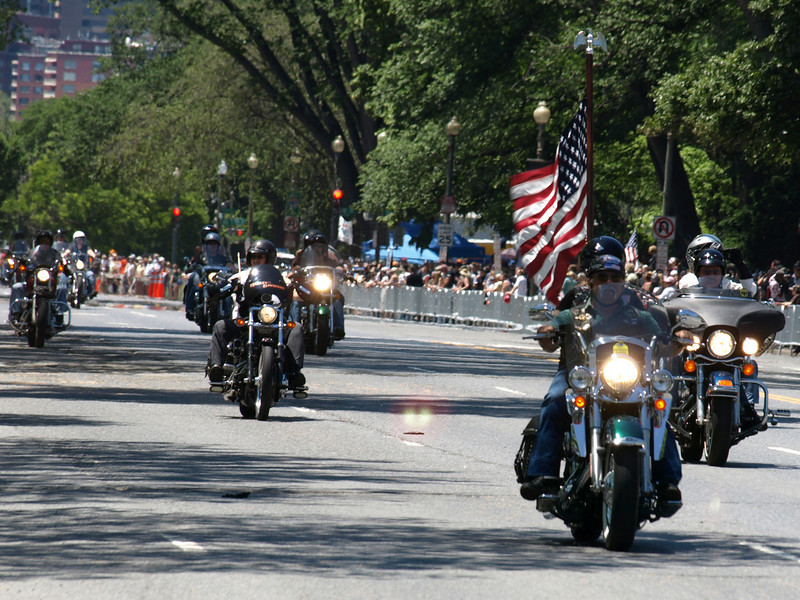 "Rolling Thunder Motorcycle Rally, Washington, DC, May 25, 2008. Riders roar down ""Thunder Alley,"" Constitution Ave, NW."