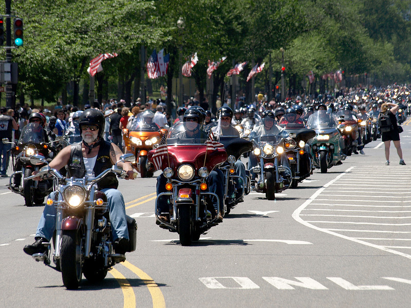 Rolling Thunder Motorcycle Rally, Washington, DC, May 25, 2008. Long line of riders head down Constitution Avenue NW.