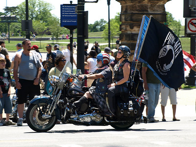 Rolling Thunder Motorcycle Rally, Washington, DC, May 25, 2008. A rider sports a kilt and a Captain America helmet.