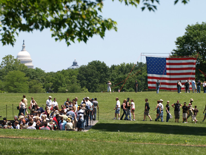 Rolling Thunder Motorcycle Rally, Washington, DC, May 25, 2008. Visitors emerge from the Vietnam War Memorial.