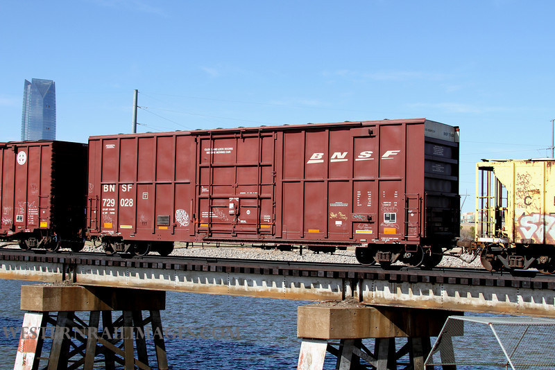 Cars 2 - Feb 23 2012 - BNSF Box no 729028 on Stillwater Central @ Oklahoma City OK - by Doug Ozment