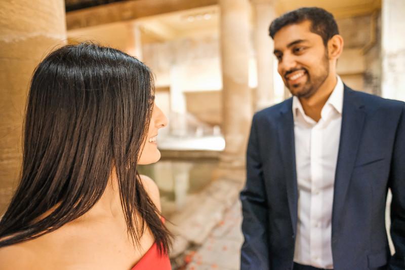 smiles as couple meet