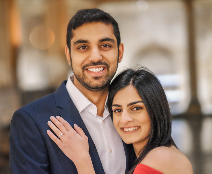 simple photo of engaged couple