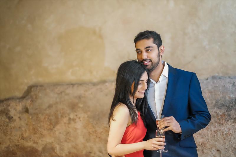 celebrating their engagement