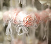 Pink Silk Rose with White Netting and Ribbon
