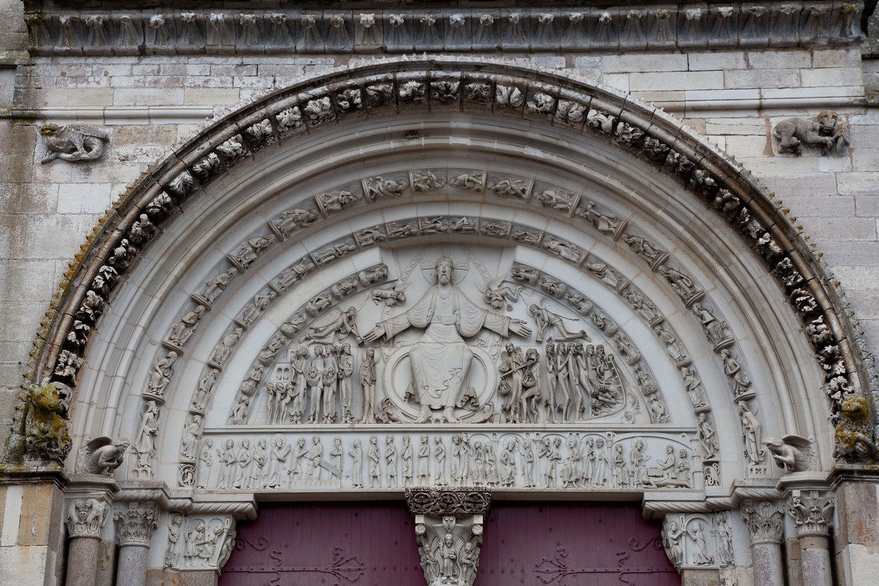 Vezelay Sainte-Madeleine Abbey West Facade Last Judgement Tympanum