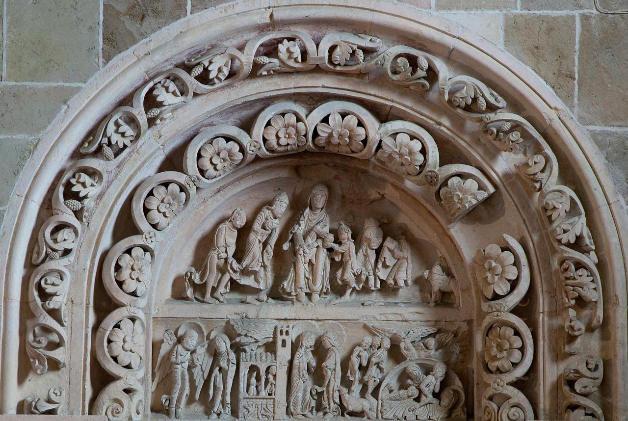 Vezelay Sainte-Madeleine Abbey South Aisle Tympanum Nativity