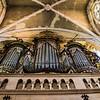 Looking up at the organ pipes