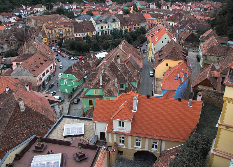 A view of Sighisoara from the Clock Tower
