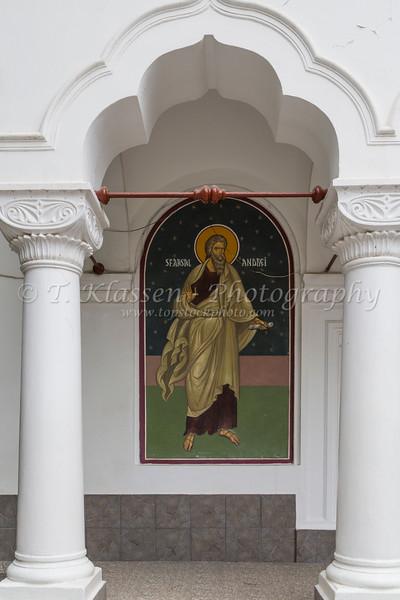 Religious architecture at a Romanian Orthodox church in Constanta, Romania.
