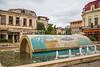 A decorative water fountain in downtown Constanta, Romania.