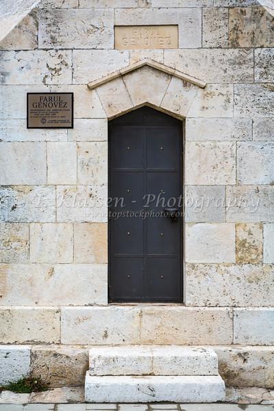 Farul Genovez architecture monument and door in Constanta, Romania.