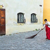 Clair Hixson, Romania, Sighisoara, street sweeper in old city
