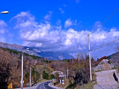 Along the Road in the Carpathian Mountains in Romania