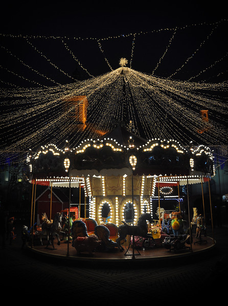 Carousel in Sibiu Christmas Market. 2018.