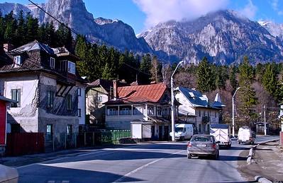 Driving through a Transylvania town