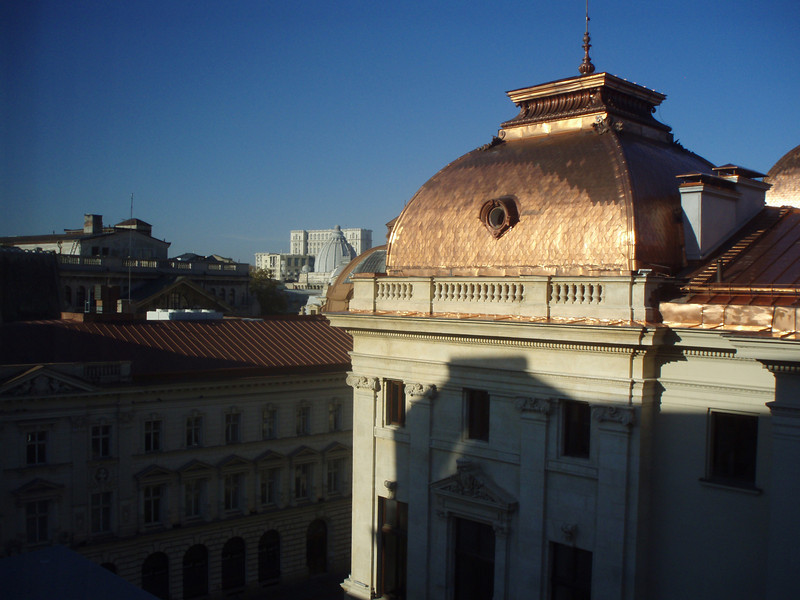 The view from our hotel window, looking out at the Lipscani quarter.  The building with the gold roof is a bank.