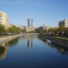 One of the canals winding through modern Bucharest.