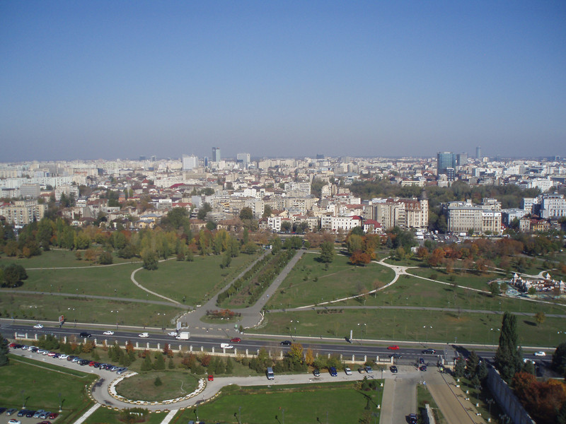 A view of Bucharest from the Parliament building.