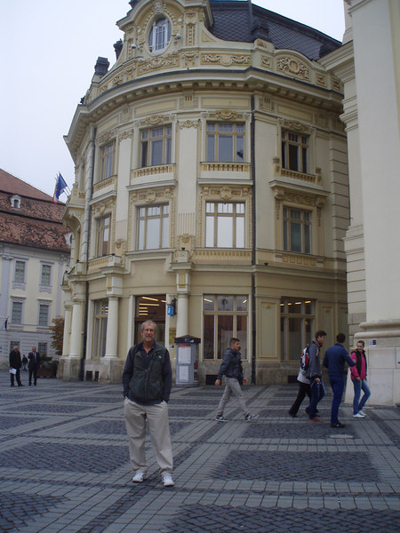 On the square in Sibiu.  Our hotel is to the right, facing the square.
