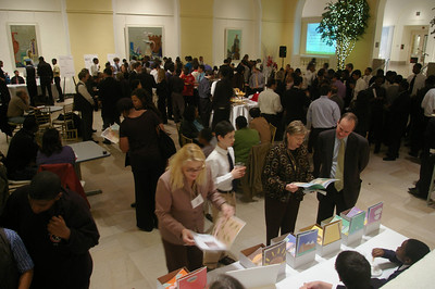 The reception for the evening's presentations, at the Atrium of the Newark Museum.